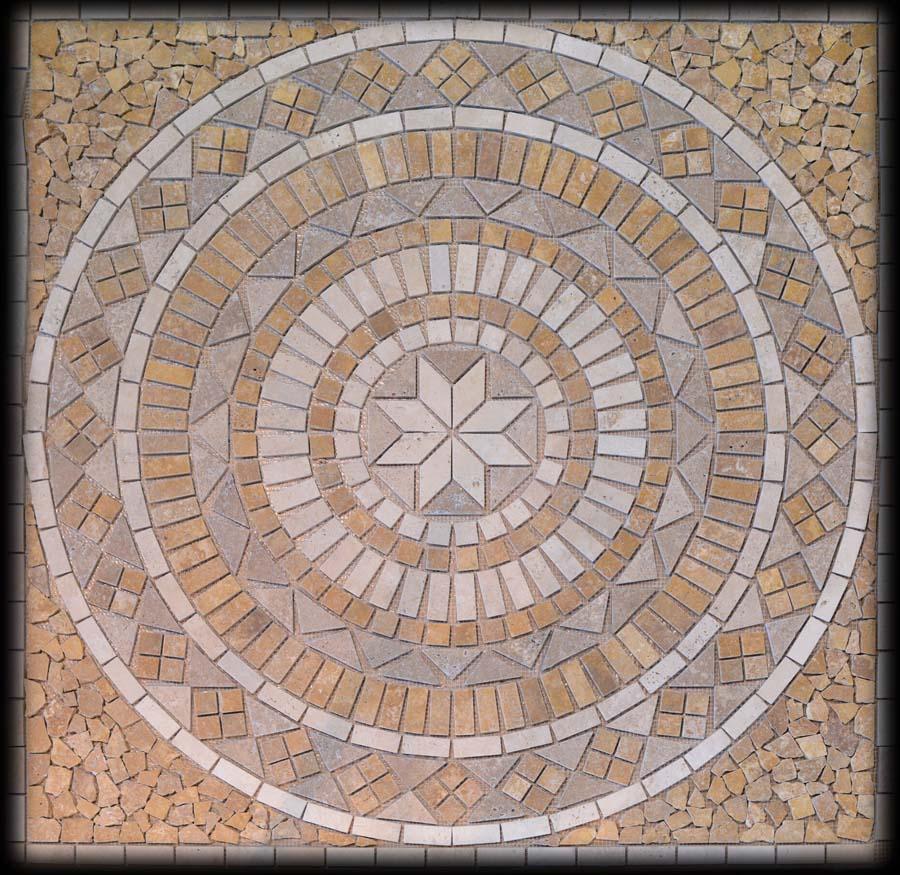 Porcelain tile floor medallions
